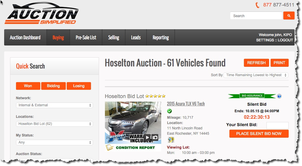 Auction Simplified Screen Shot